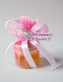 Marturie botez borcanel cu miere in saculet cu fluture