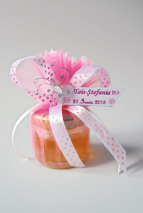 Marturie botez borcanel cu miere in saculet cu fluture 1
