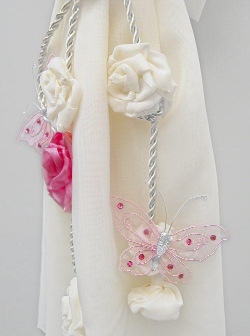 Lumanare botez cu decor crem si accesorii roz 3