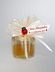 Marturie nunta borcanel miere cu decor crem