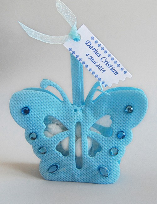 Marturie botez bomboniera fluture bleu cu personalizare