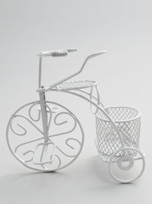Marturie nunta bicicleta alba din metal
