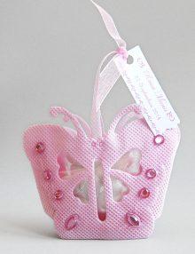Marturie botez bomboniera fluture roz cu personalizare