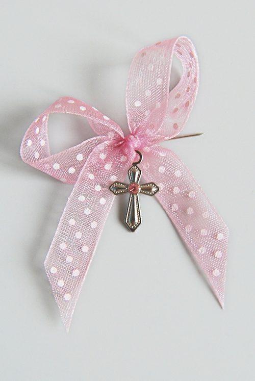 Cruciulite botez fetite cu panglica organza roz cu buline 1