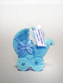 Marturie botez bomboniera carucior bleu cu personalizare