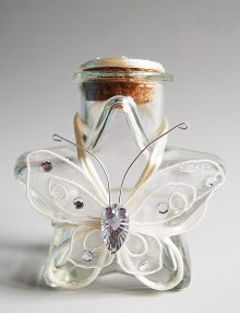 Sticluta pentru ulei mir cu fluture si snur crem