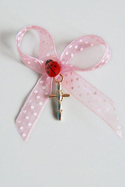 Cruciulite botez fetite cu panglica organza roz si buburuza 1