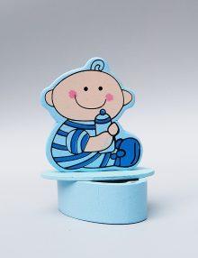 Marturie botez bomboniera bleu cu bebe