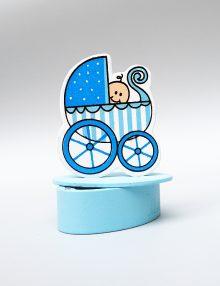 Marturie botez bomboniera bleu cu bebe in carucior