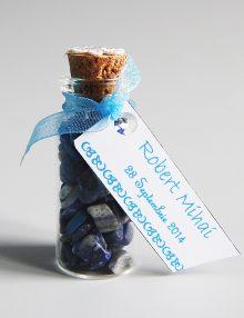Marturie nunta sticluta cu cristale lapis lazuli