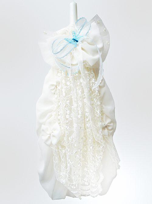 Lumanare botez cu dantela si accesorii bleu