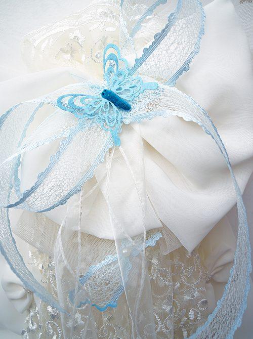 Lumanare botez cu dantela si accesorii bleu 1
