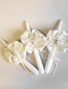Set lumanari cristelnita cu floricele si fluturi crem