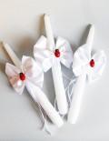 Set lumanari cristelnita decorate cu fundite albe si gargarite