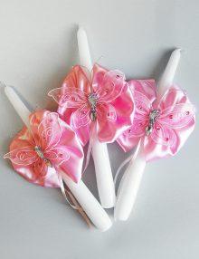 Set lumanari cristelnita cu floricele si fluturi roz