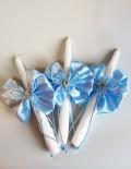 Set lumanari pentru cristelnita cu floricele si fluturi bleu