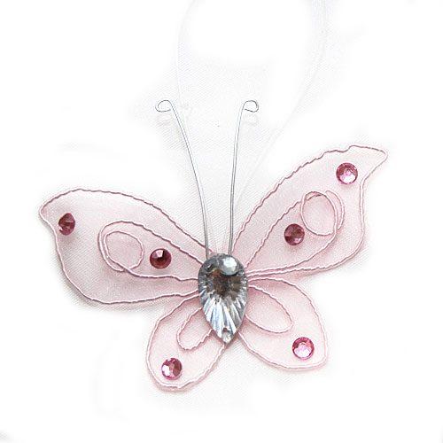 Fluture organza roz pentru decor