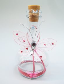 Sticla pentru uleiul de mir cu decor fluture roz
