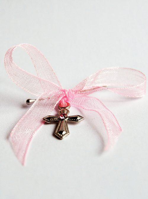 Cruciulite botez cu stras roz 1