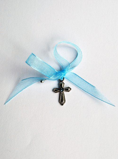 Cruciulite botez cu stras bleu