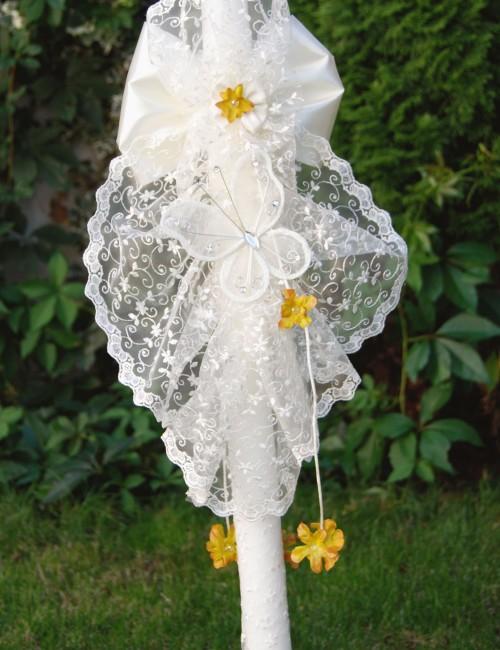 Lumanare de botez cu dantela si fluture crem