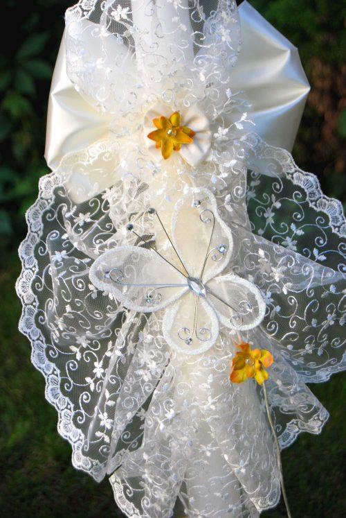 Lumanare de botez cu dantela si fluture crem 1