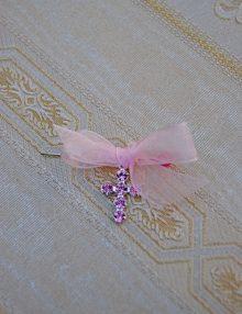 Cruciulite botez cu cristale Swarovski roz