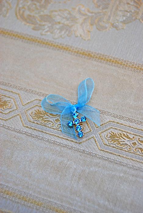 Cruciulite botez cu cristale Swarovski bleu