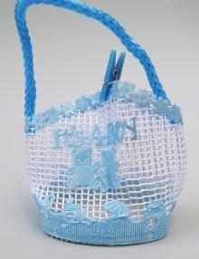 Marturie botez bomboniera bleu cu imprimeu