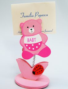 Marturie botez clips card cu ursulet roz