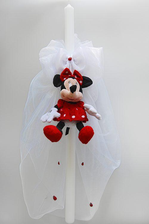 Lumanare de botez cu decor jucarie Minnie