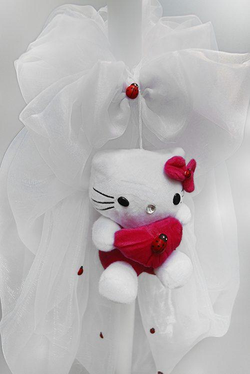 Lumanare de botez cu decor jucarie Hello Kitty 1