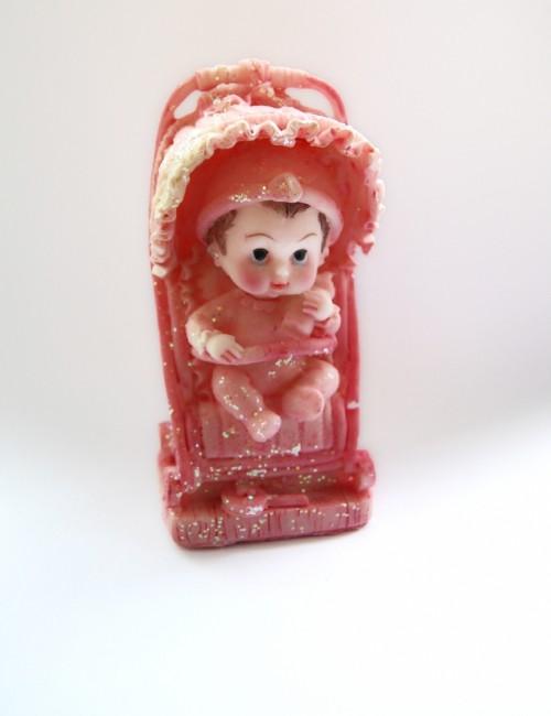 Figurina tort botez bebe cu carucior roz