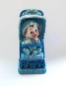 Figurina tort botez bebe cu carucior bleu