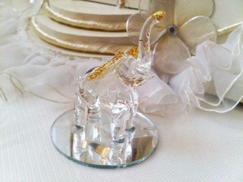 Marturie nunta elefant din sticla cu oglinda