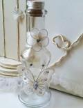 Sticla pentru uleiul de mir cu decor floricica crem