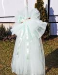 Lumanare botez cu decor din tull vernil si baton de scortisoara