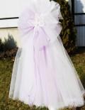 Lumanare botez cu decor din tull lila si fluture crem