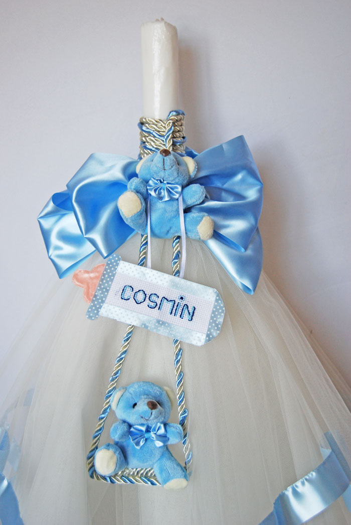 Lumanare Botez Cu Ursuleti Bleu Si Decor Personalizat