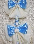 Lumanare de botez cu fundite din voal si decor bleu