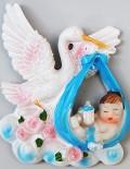 Marturie botez barza din ceramica bleu cu magnet