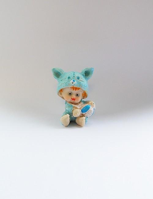 Marturie botez bebe ceramica bleu