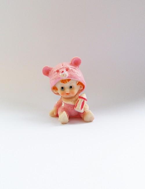 Marturie botez bebe ceramica roz