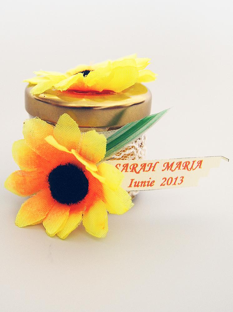 Marturie Botez Borcanel Cu Miere Si Decor Floarea Soarelui