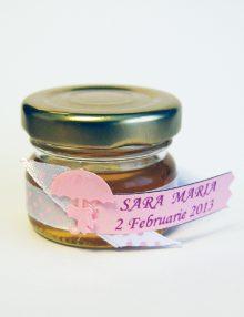Marturie botez borcanel cu miere si umbreluta roz
