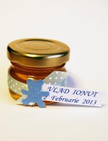 Marturie botez borcanel cu miere cu ursulet bleu