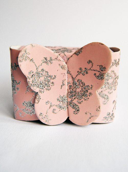 Marturie botez cutiuta roz cu fluture 1