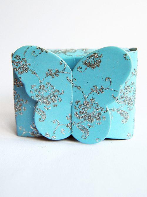 Marturie botez cutiuta bleu cu fluture 1