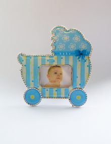 Marturie botez rama foto cu magnet bleu