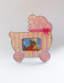 Marturie botez rama foto cu magnet roz